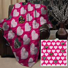 Personalised Pink Heart Photo Design Fleece Soft Fleece Blanket Cover 10 Images