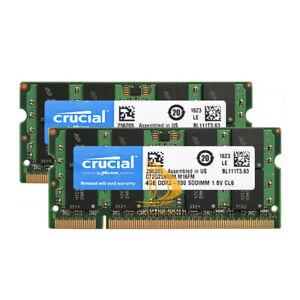 Lot Crucial 8GB 4GB 2GB 2RX8 PC2-6400 DDR2-800MHz 1.8V SODIMM Laptop Memory #DD@