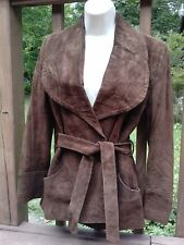1970s Brown Suede Wide Butterfly Collar Belted Disco Hippie Boho Jacket Vintage