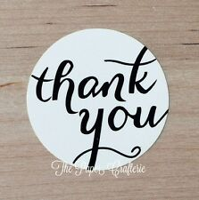 60 x THANK YOU STICKERS Ivory White Glossy Round Labels Seal Bomboniere Favours