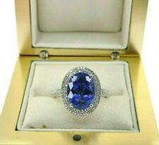 5.20 Carats Diamond and Oval Tanzanite Halo Celebration Ring 14K White Gold