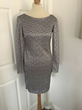 Miss Selfridge Silver Embroidered Party Dress With Low Back Size 10!