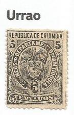 timbres-ANTIOQUIA. 1889. 5c Noir sur Jaune SG: 76. très bien utilisé Urrao Stylo