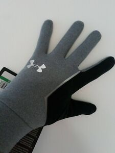 Under Armour Storm Run Liner Gloves Men's grey and black UA new item LARGE MENS.
