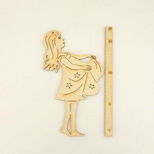 Sterntaler, Sternentalermädchen 17 cm aus Holz mit Loch zum Anhängen