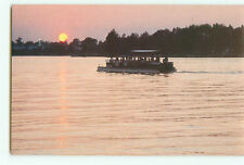 Vintage Postcard Sunset Pontoon Boat on Winona Lake Indiana  # 2381