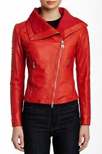 DOMA STUDDED MOTO BIKER LEATHER New JACKET Coat PASSION RED XL as L/M $650 CHIC