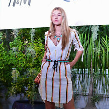 h&m yellow and cream stripped  linen shirt dress uk size 8 eu34