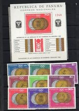 WINTER SPORTS OLYMPIC MEDALS PANAMA Sc#487 COMPLETE + SHEET