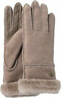 Ugg Australia Womens Sheepskin Exposed Slim Tech Gloves Stormy Grey Size Large