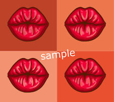 Lips Montage Orange Iron On Transfer with FREE protective wallet & instructions