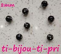LOT de 100 PERLES rondes STRASS incrustés NOIRES 8mm bijoux bracelets
