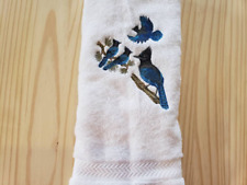 STELLER'S BLUE JAY BIRD  HAND TOWEL SET CUSTOM EMBROIDERED