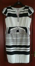 BNWT M&S Per Una Size 14 Black & White Stripe Peplum Dress