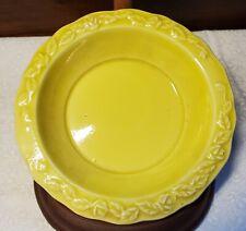 Vintage Yellow Glaze Ceramic Bowl Rose Flowers Mid-Century Modern Retro