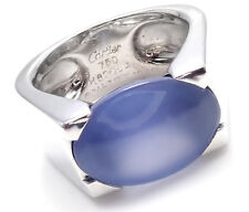 AUTHENTIC! CARTIER 18K WHITE GOLD LARGE CHALCEDONY RING 1999