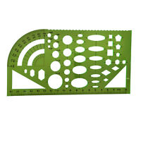 Tactics template template ruler plastic protractor student clear green V2H1