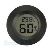 New Digital Cigar Humidor Hygrometer Thermometer Temperature Round Black Face