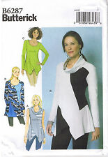 Easy Pullover Top Tunic Collar Shaped Hem Butterick 6287 Sewing Pattern L XL XXL