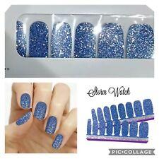 Color Street nail polish strips retired STORM WATCH Blue glitter HTF Retired