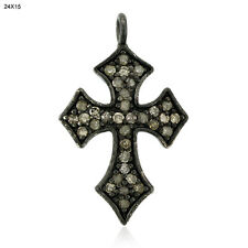 Diamond 925 Sterling Silver Cross Sign Spacer Finding Fashion Jewelry 3 pcs lot