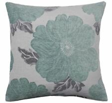 """2 X POPPY DUCK EGG BLUE WHITE SILVER CHENILLE THICK CUSHION COVERS 18"""" - 45CM"""
