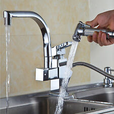 Pull Out Up & Down Kitchen Sink Mixer Taps Swivel Faucet With Spray Head Tap