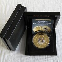 2014 TDC PRINCE GEORGE 1st BIRTHDAY PHOTOGRAPHIC 65mm GOLD PLATED PROOF 5 CROWNS