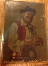 Oil On Canvas Painting 19th Century Old Man with Wine Bottle  As Found