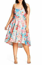 City Chic Glass floral option straps fit and flare Tea PARTY DRESS M 18 pockets