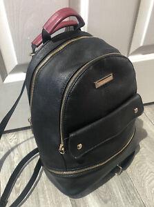 River Island black  faux leather rucksack back pack