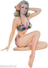 Retro Sexy Blond Girl Bikini Stickers Set of 2 Rare & OOP Art: Cartagena