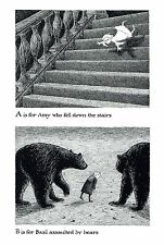 """EDWARD GOREY """"A FOR AMY, B FOR BASIL"""" LARGE 10""""x 15"""" Wall Art Poster Book Page"""