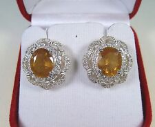 HONEY YELLOW/WHITE SAPPHIRE EARRINGS 6.93 CTW - WHITE GOLD over 925 SILVER