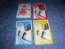 a14. 4 Vintage Swap Playing Cards  Blank Backs  Skiing Young Girl Flowers