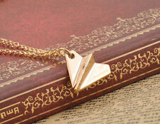 Fashion Inifinity One Direction Band Paper Airplane Charm Necklace Gold Alloy