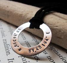 Latitude Longitude Necklace. Personalized Coordinates Pendant. Unisex Necklace