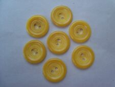 7 SUNNY BRIGHT YELLOW CIRCLE VINTAGE CASEIN BUTTONS NOS CRAFTS SEWING 18mm