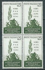 1959 ITALIA EX COMBATTENTI QUARTINA MNH ** - JU057