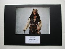 JOHNNY DEPP PIRATES OF THE CARIBBEAN HAND SIGNED A3 MOUNTED PHOTO DISPLAY - COA