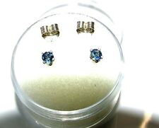 3 mm mid blue sapphire stud earrings in sterling silver
