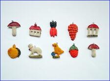 10 Stück Miniatur Tragant Christbaumschmuck - 1 Hälfte 20. Jahrhundert  (# 6543)