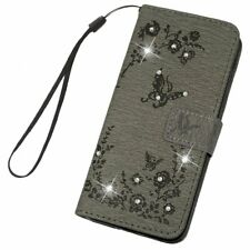 SAMSUNG GALAXY A6 PHONE FLIP CASE COVER STAND WITH CARD POCKETS, GREY & SPARKLES