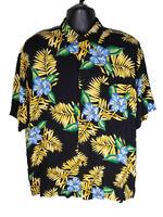 Puritan L Hawaiian Aloha Shirt Mens Black Multicolor with Tropical Floral Print