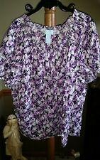 Liz & Me Plus Size 1X Floral SS Pullover Top