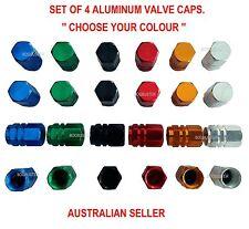 VALVE CAPS CAP TYRE TIRE STEM WHEEL CAR TRUCK BIKE ALUMINUM SCREW 4 PCE AIR DUST