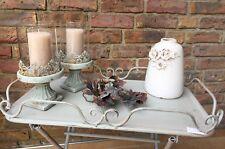 Vase Blumenvase Rosendekor Creme/ White Keramik Glasur Vintage Shabby