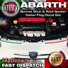 FIAT Abarth 500 Bonnet Shut & Roof Spoiler Italian Flag Decal Set. 500c 595c