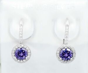 AMETHYST 1.14 Cts  & WHITE SAPPHIRE DANGLING EARRINGS .925 Sterling Silver *NWT*