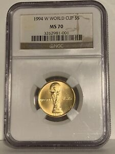 1994 W  World Cup $5 Gold Coin NGC MS 70